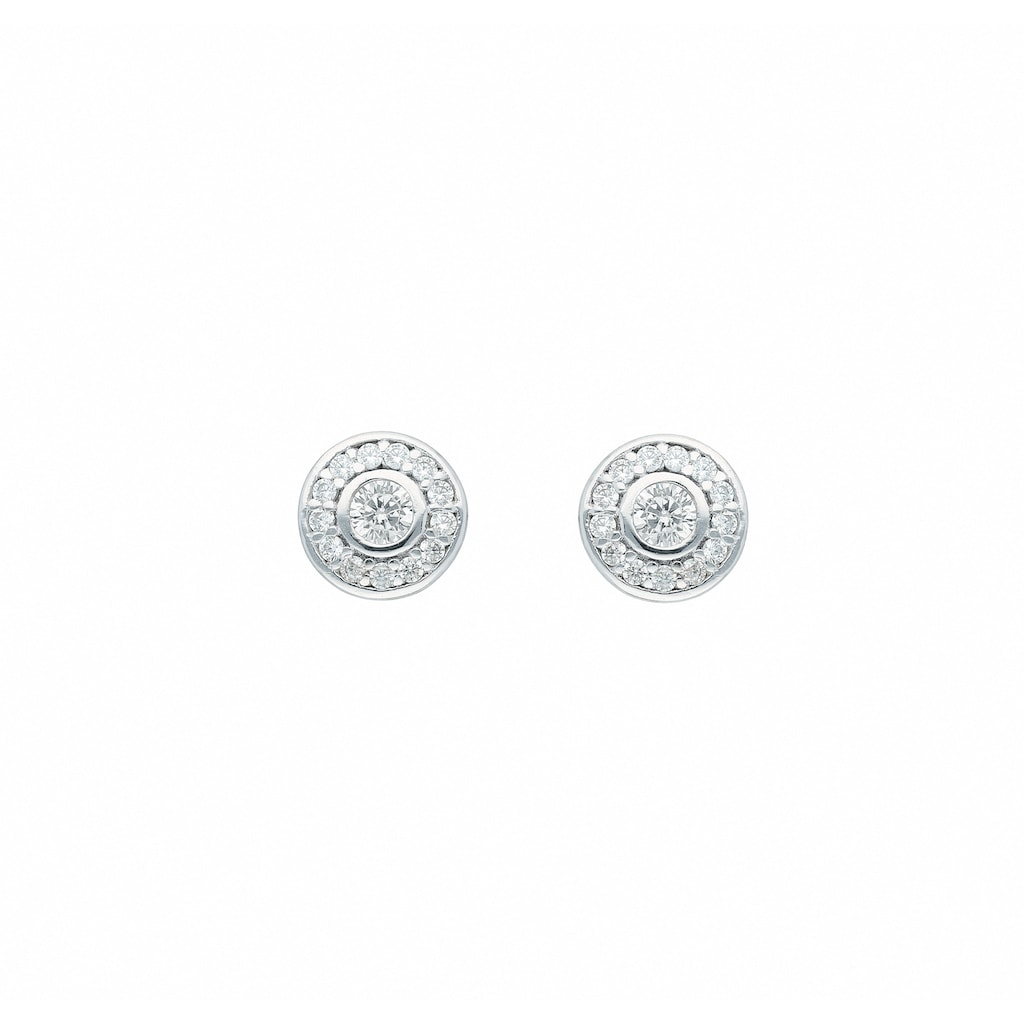 Adelia´s Paar Ohrhänger »585 Weißgold Ohrringe / Ohrstecker mit Zirkonia Ø 7,1 mm«, Goldschmuck für Damen