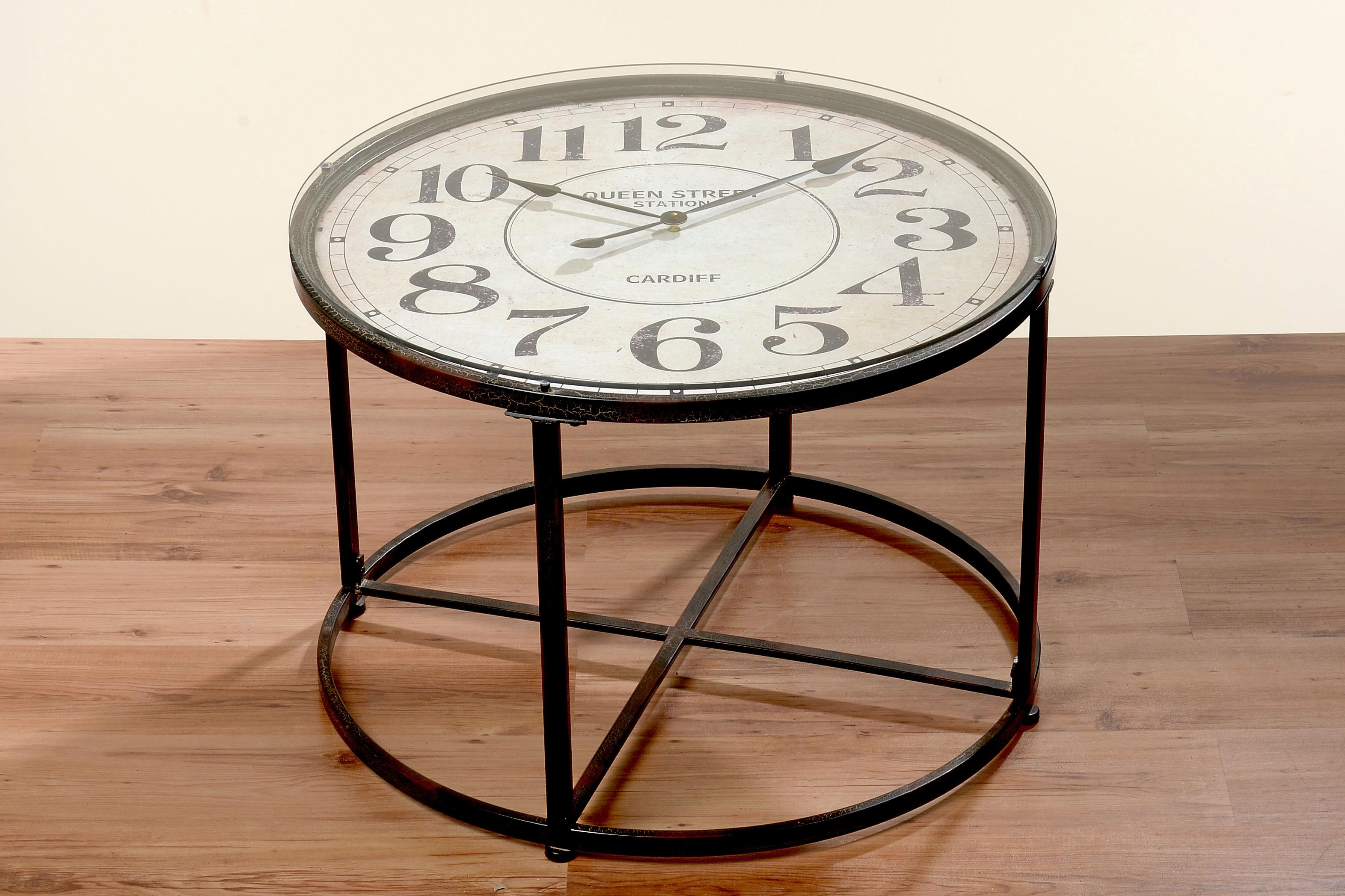 Home affaire Beistelltisch, mit Uhr braun Beistelltische Tische Beistelltisch