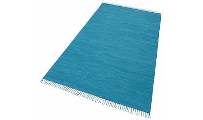 THEKO Teppich »Happy Cotton«, rechteckig, 5 mm Höhe, Flachgewebe, reine Baumwolle, handgewebt, mit Fransen, Wohnzimmer, Kundenliebling mit 4,5 Sterne-Bewertung! kaufen
