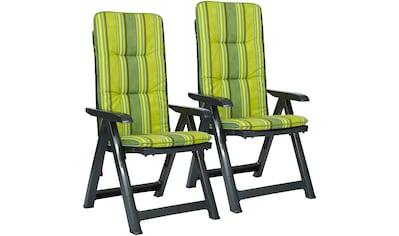 Best Gartenstuhl »Kansas«, 2er Set, Kunststoff, verstellbar, grün, inkl. Auflage kaufen