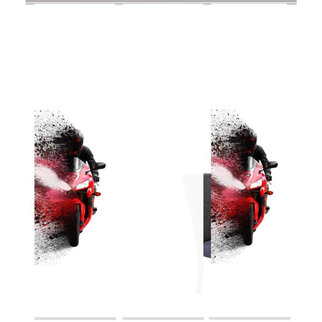 HOME WOHNIDEEN Schiebegardine »AKIDO 3er SET«, Dekostoff-Seidenoptik, Digital bedruckt