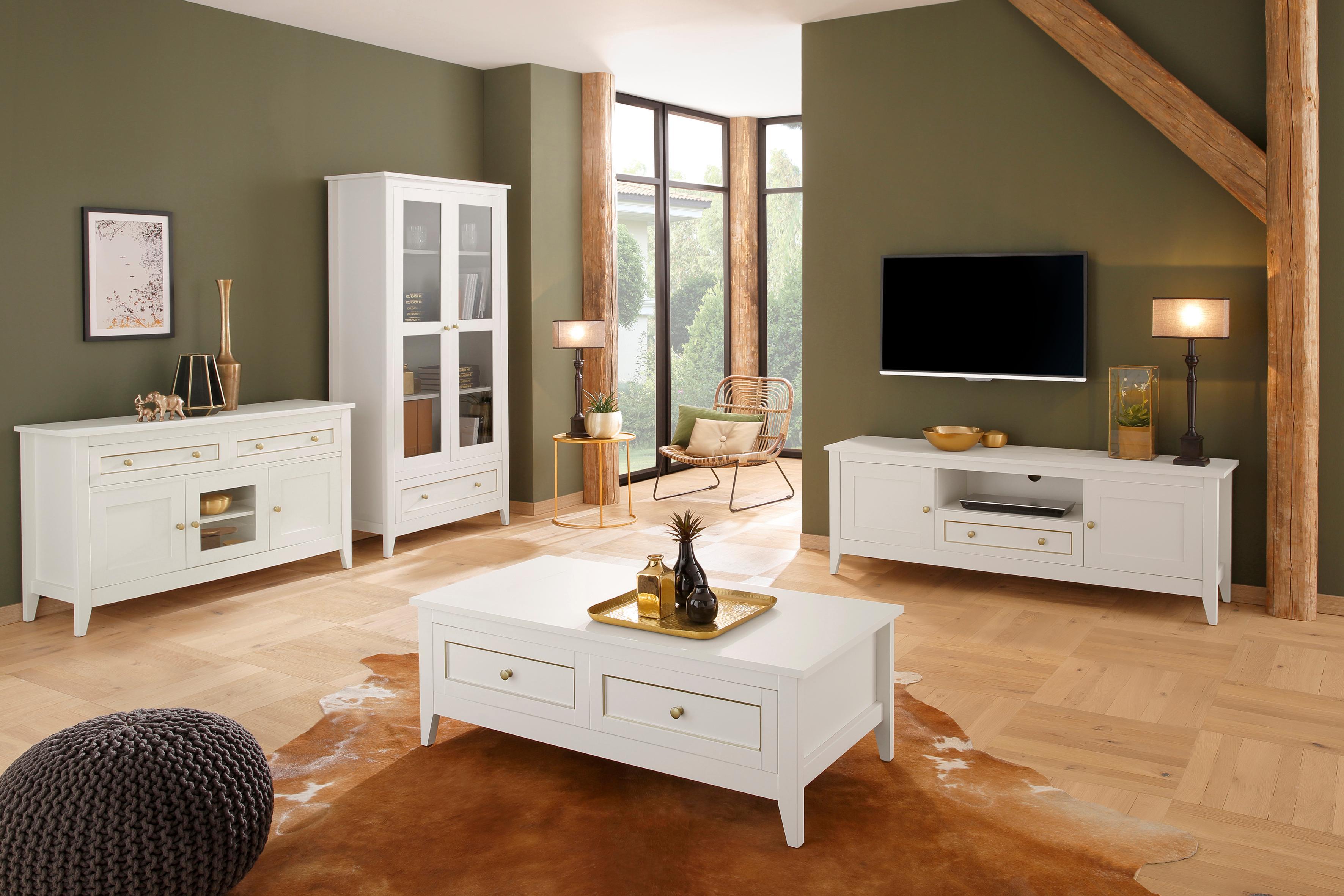 Home affaire Sideboard Victoria 2 Schubladen mit goldener Umrandung und 3 Türen mit Messinggriffe Breite 131 cm