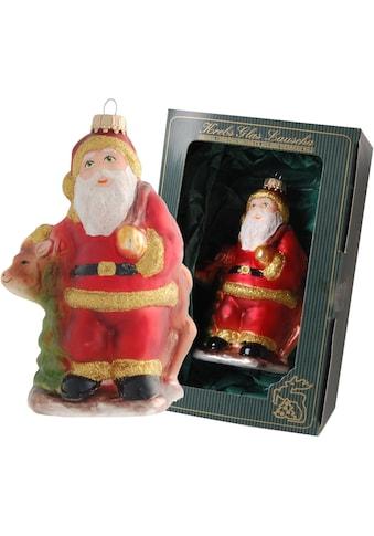 Krebs Glas Lauscha Christbaumschmuck »Weihnachtsmann mit Rentier«, (1 tlg.), mundgeblasen kaufen