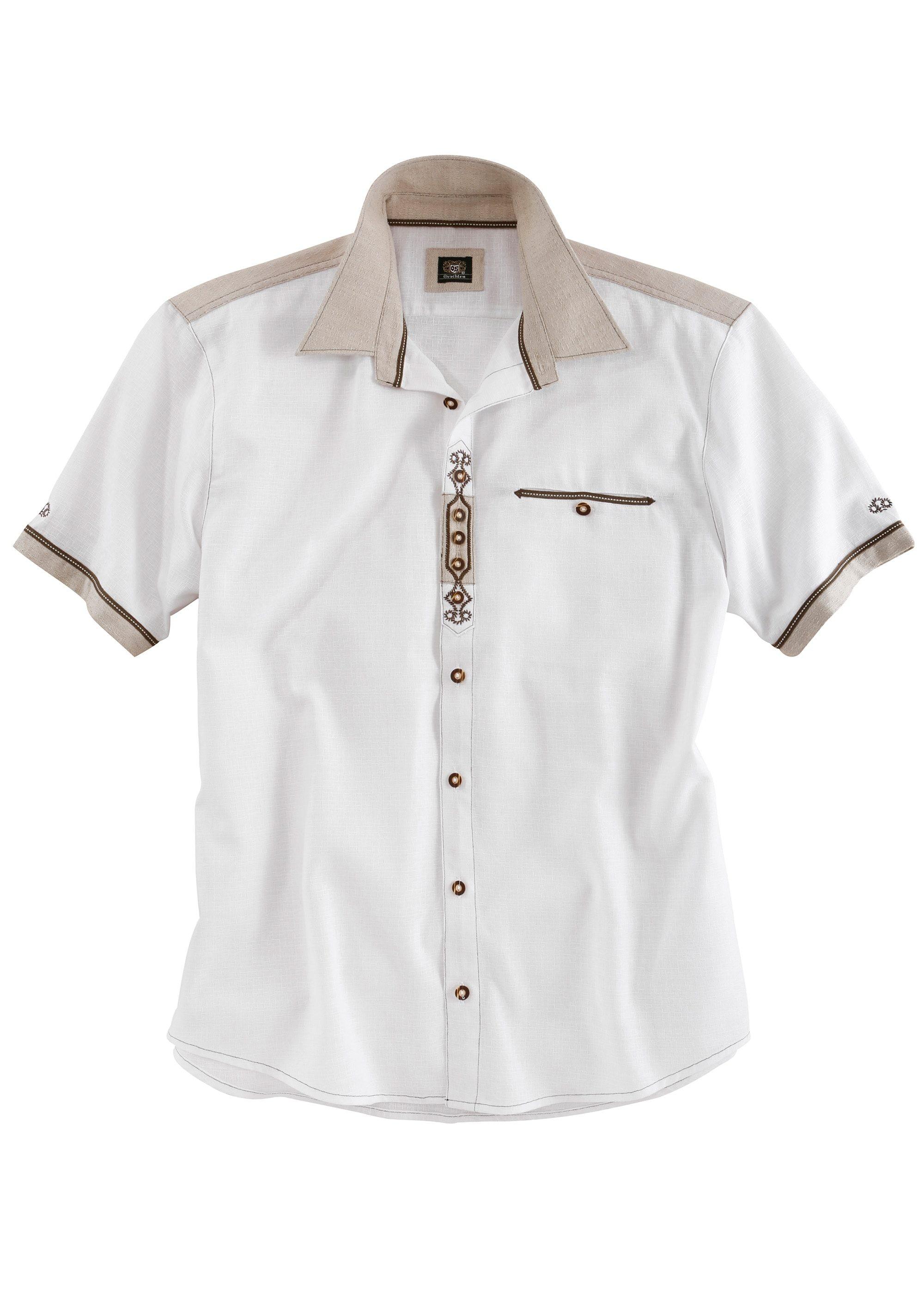 OS-Trachten Trachtenhemd in Leinenoptik | Bekleidung > Hemden > Trachtenhemden | Weiß | Os-Trachten