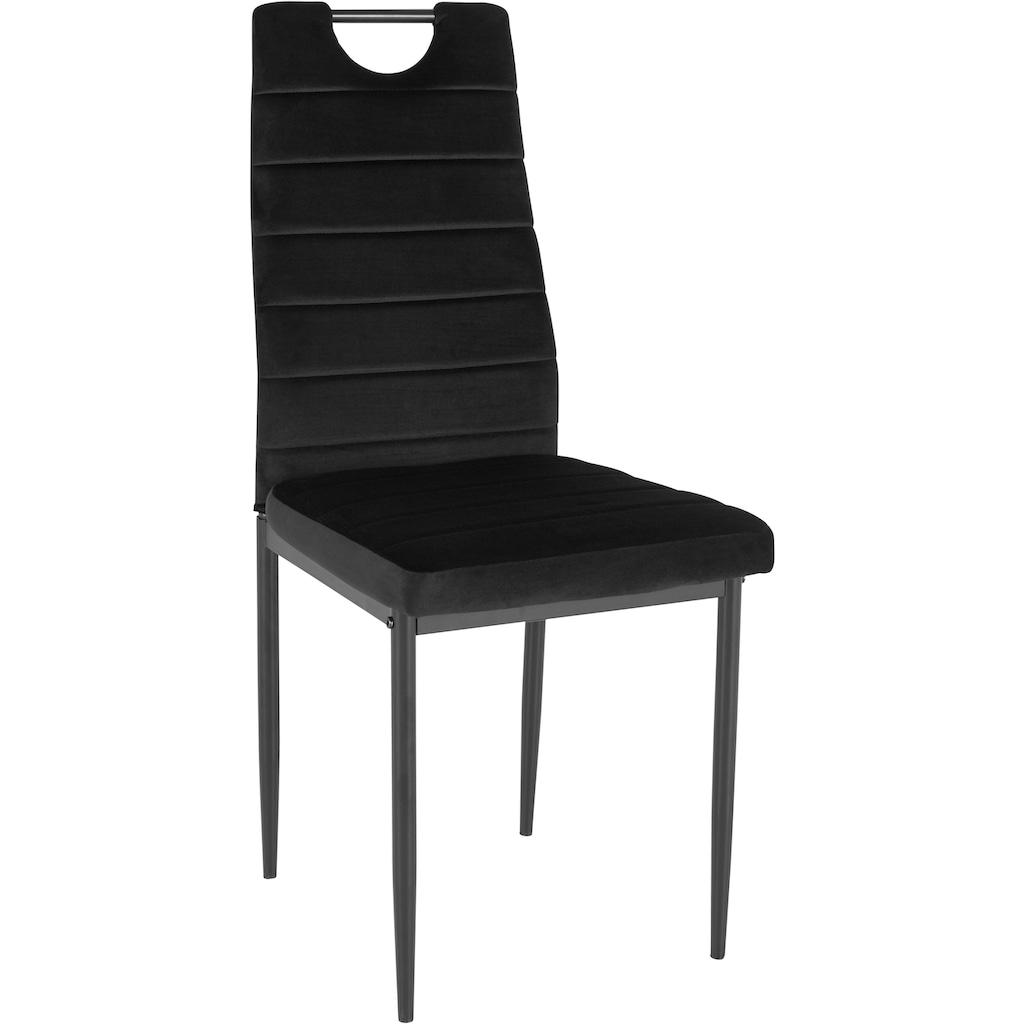 my home 4-Fußstuhl »Mandy«, (2 oder 4 Stück) mit Samtbezug, Rückenlehne mit Griff zum einfachen Zurückziehen
