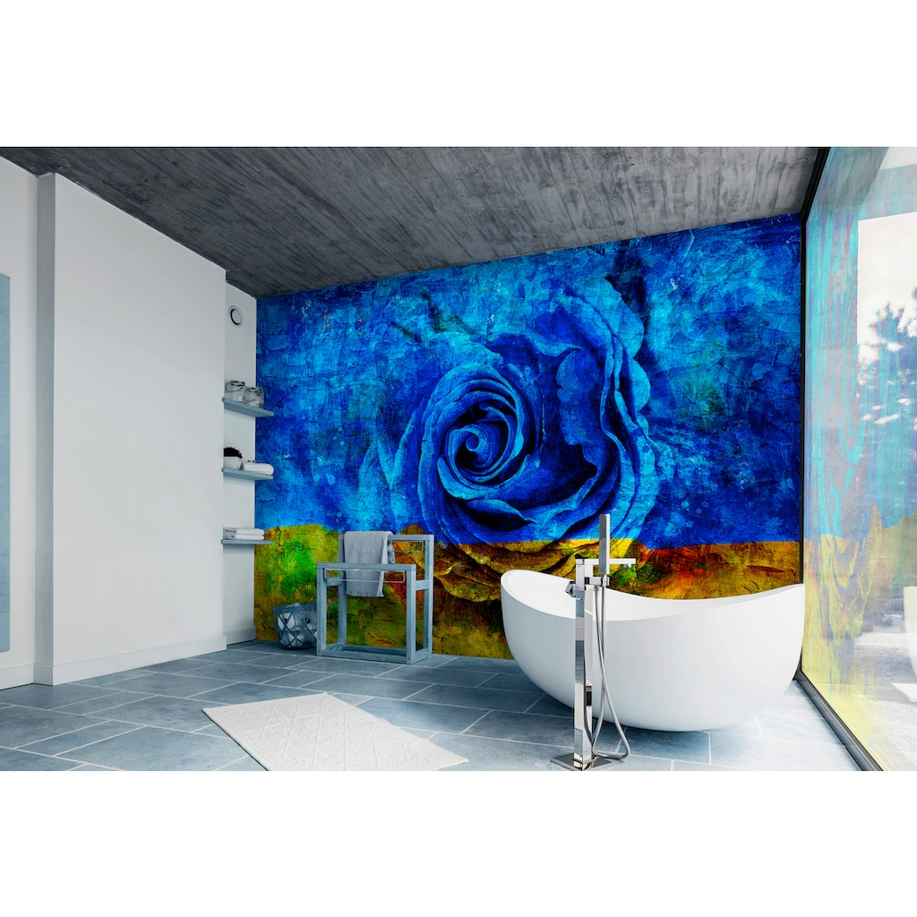 Consalnet Vliestapete »Blau-Gelbe Rose«, floral