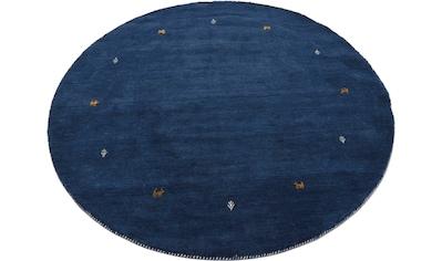 carpetfine Wollteppich »Gabbeh Uni«, rund, 15 mm Höhe, reine Wolle, handgewebt, Gabbeh Tiermotiv, Wohnzimmer kaufen