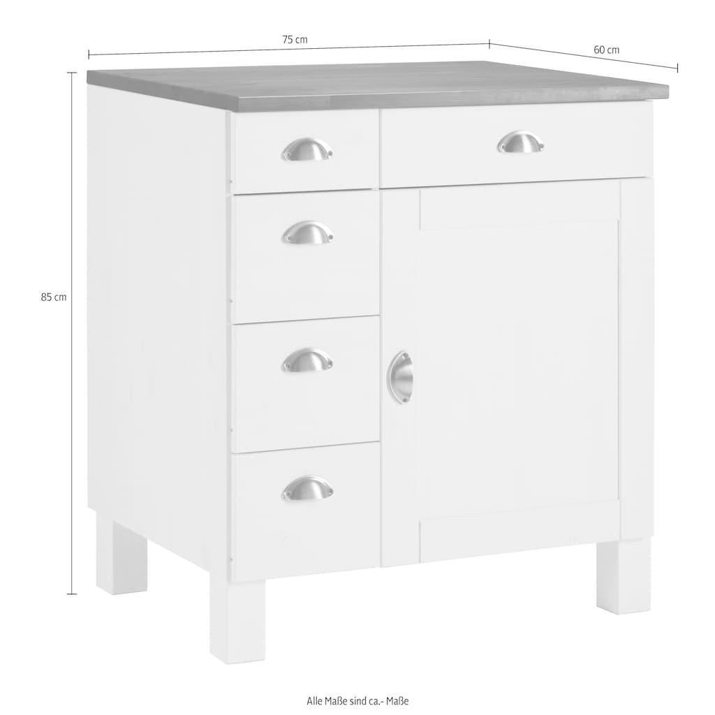 Home affaire Unterschrank »Oslo«, 75 cm breit, 1 Tür, 5 Schubladen, aus massiver Kiefer, Metallgriffe, Landhaus-Optik
