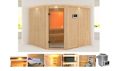 KONIFERA Sauna »Evka«, 245x245x202 cm, 9 kW Ofen mit ext. Steuerung, mit Dachkranz kaufen