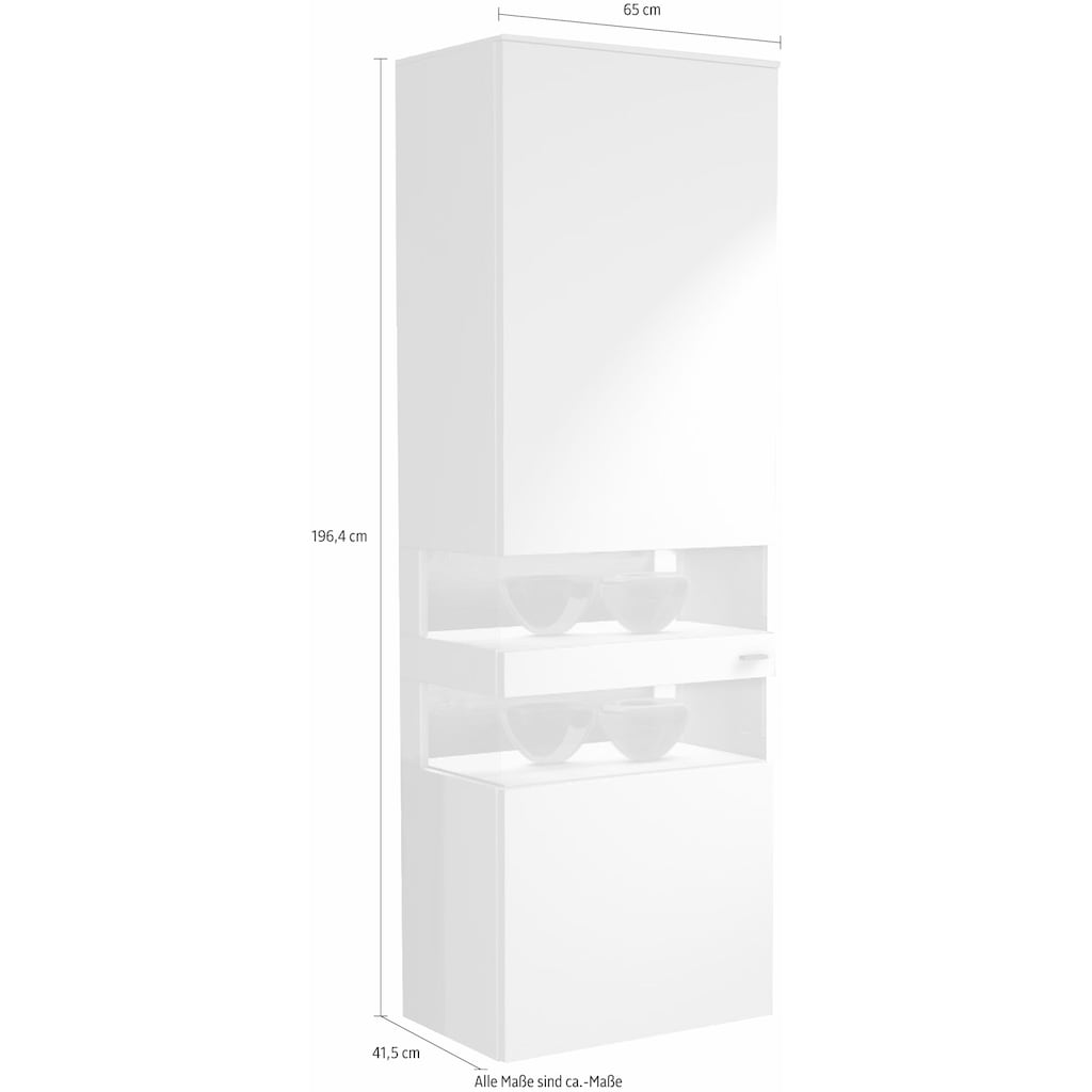 GWINNER Vitrine »ANZIO«, Lack fango, 1-türig, Höhe 196,4 cm