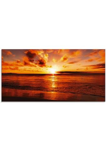 Artland Glasbild »Schöner Sonnenuntergang Strand«, Gewässer, (1 St.) kaufen