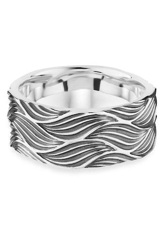 CAÏ Fingerring »925/- Sterling Silber oxidiert Wellen«, Ring kaufen