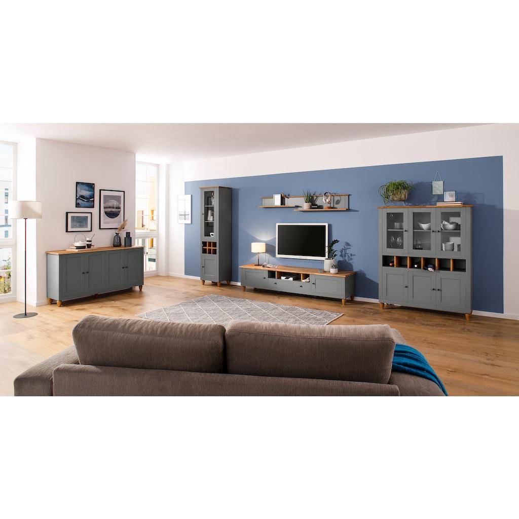Home affaire Lowboard »Warrington«, kombiniert MDF mit Eiche, Metallgriffe