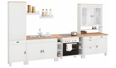 Home affaire Küchenzeile »Oslo«, ohne E-Geräte, Breite 350 cm, 35 mm starke durchgehende Arbeitsplatte, aus massiver Kiefer, mit Metallgriffen, Landhaus-Küche kaufen