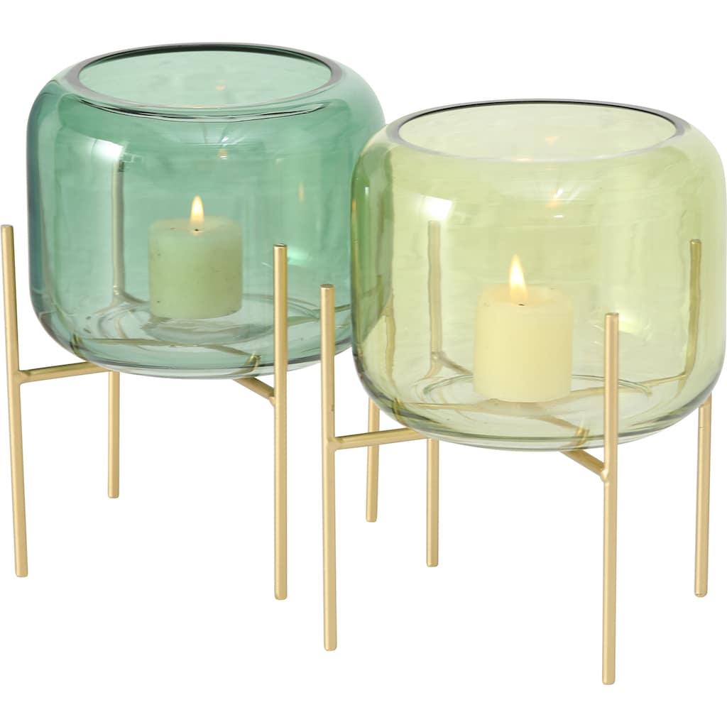 BOLTZE Windlicht »Leona«, aus Glas und Metall, Höhe 19 cm