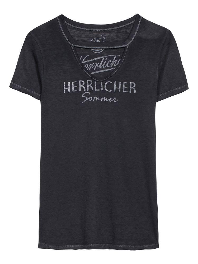 herrlicher -  T-Shirt mit raffiniertem Ausschnitt Belynda
