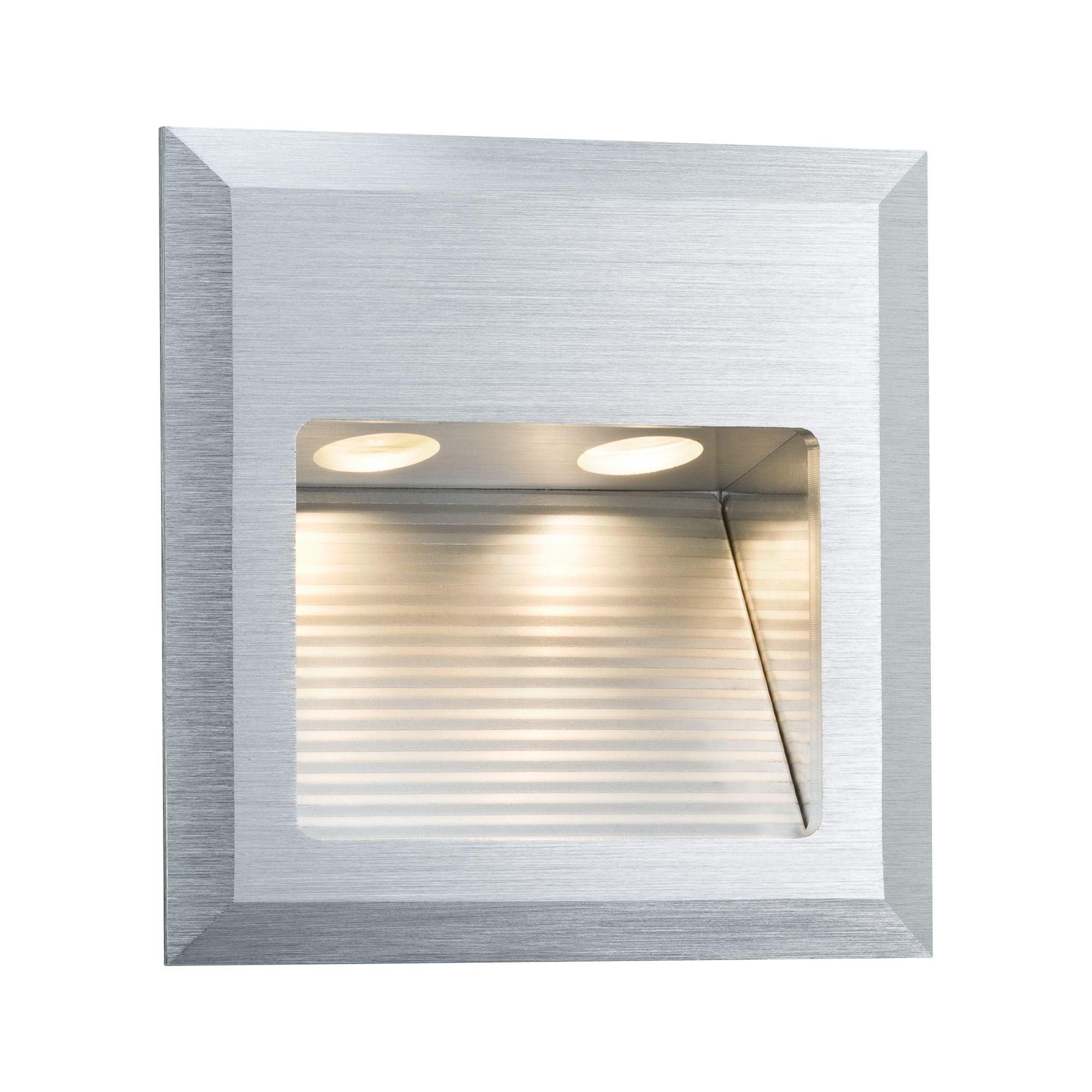 Paulmann LED Wandleuchte Einbau Special Line Quadro Alu gebürstet, 1er Set Alu gebürstet, 1er Set, 1 St., Warmweiß