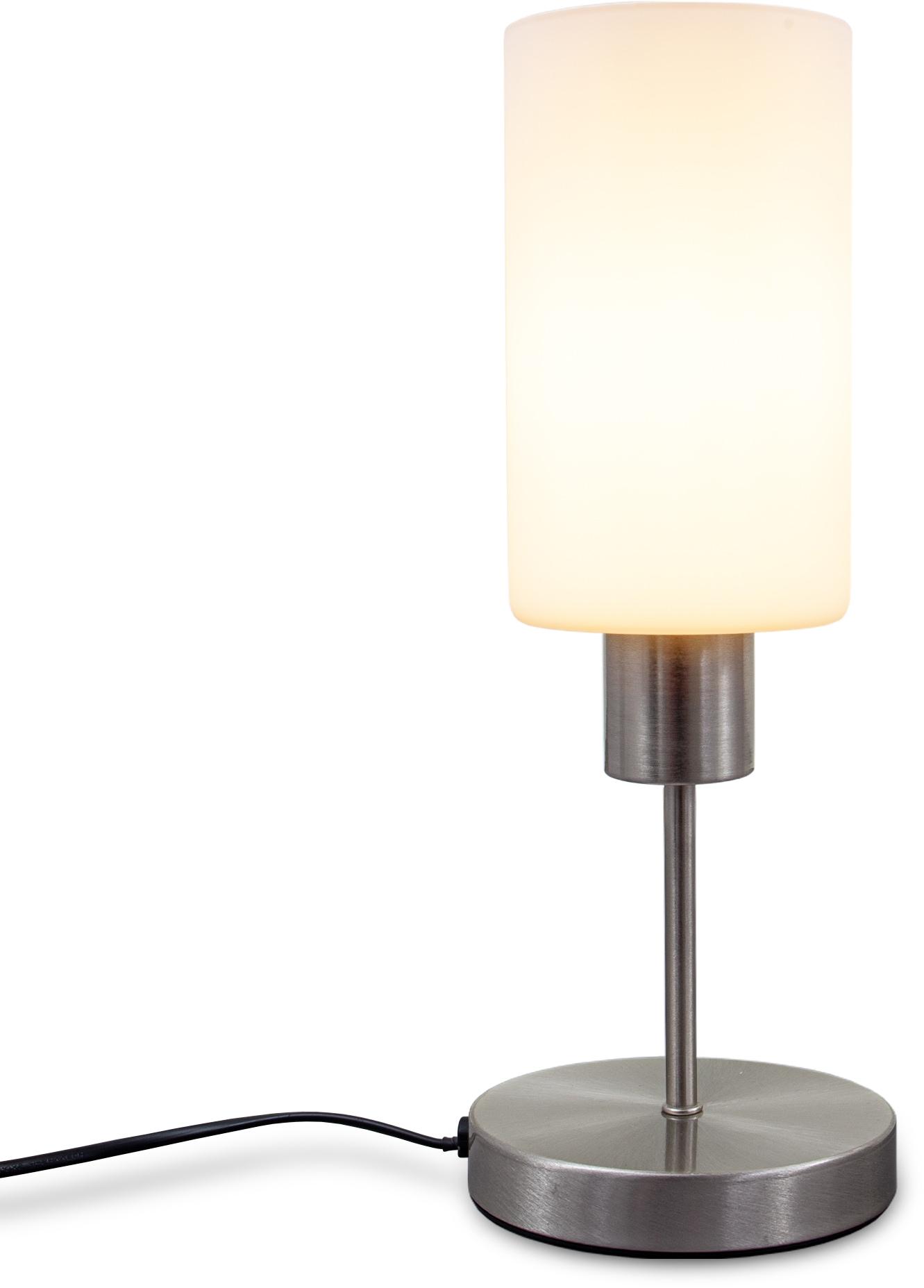 B.K.Licht Tischleuchte, E27, 1 St., Tischlampe E27 mit Kabelschalter 3-stufig dimmbar über Touchdimmer Glaslampe ohne Leuchtmittel max. 25W