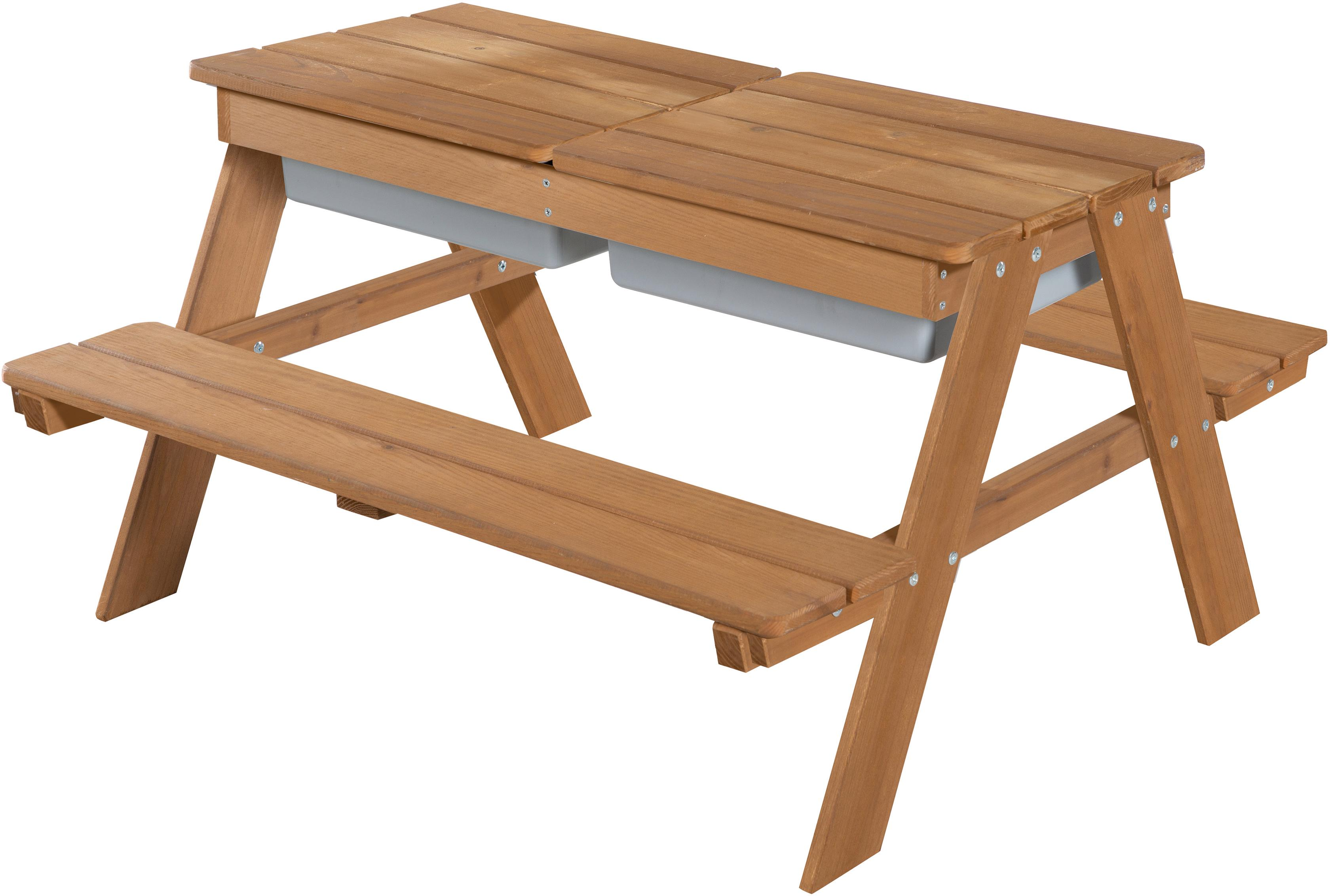 roba Kindersitzgruppe Outdoor Deluxe mit Spielwannenm Teakholz, (Set, 1 tlg.) braun Kinder Kinderstühle Kindermöbel