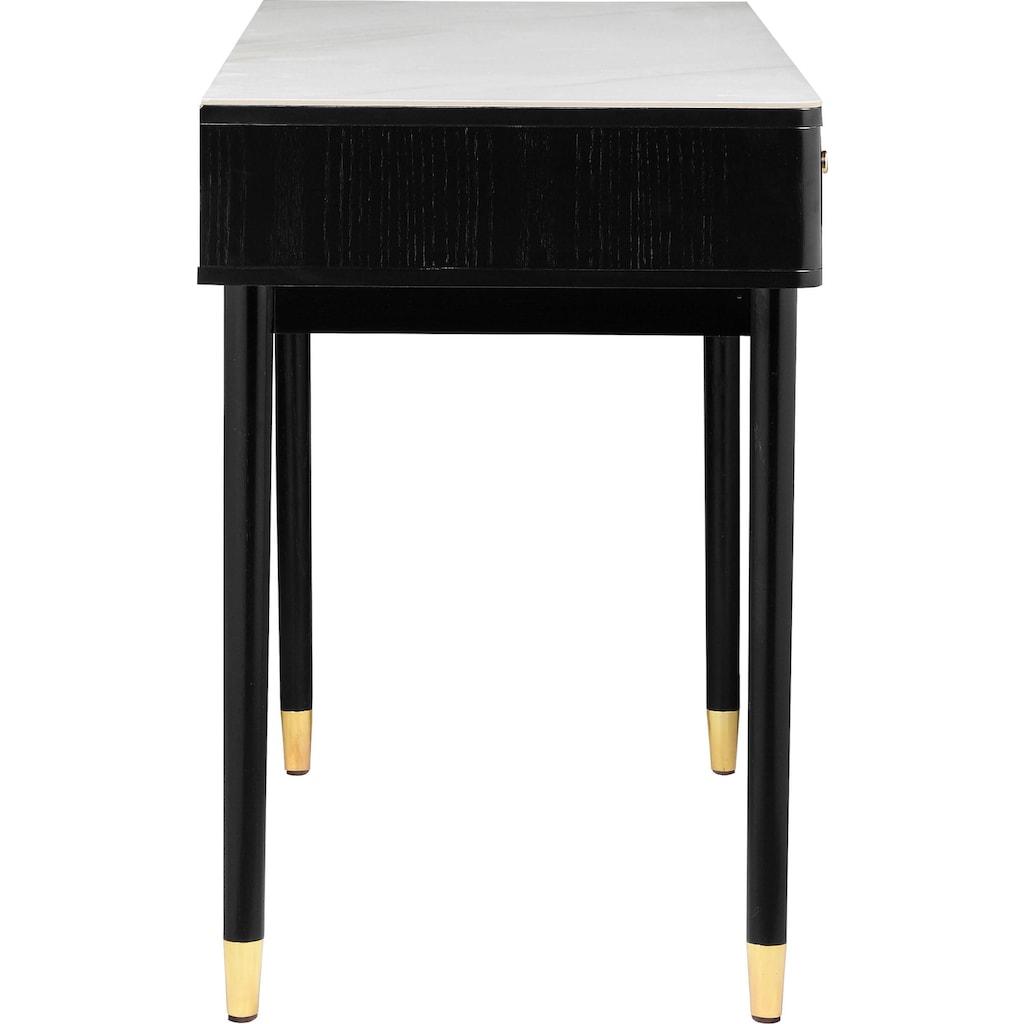 Leonique Schreibtisch »Lyon«, mit zwei Schubladen und Keramik-Oberfläche in Marmoroptik, Schminktisch, Konsolentisch