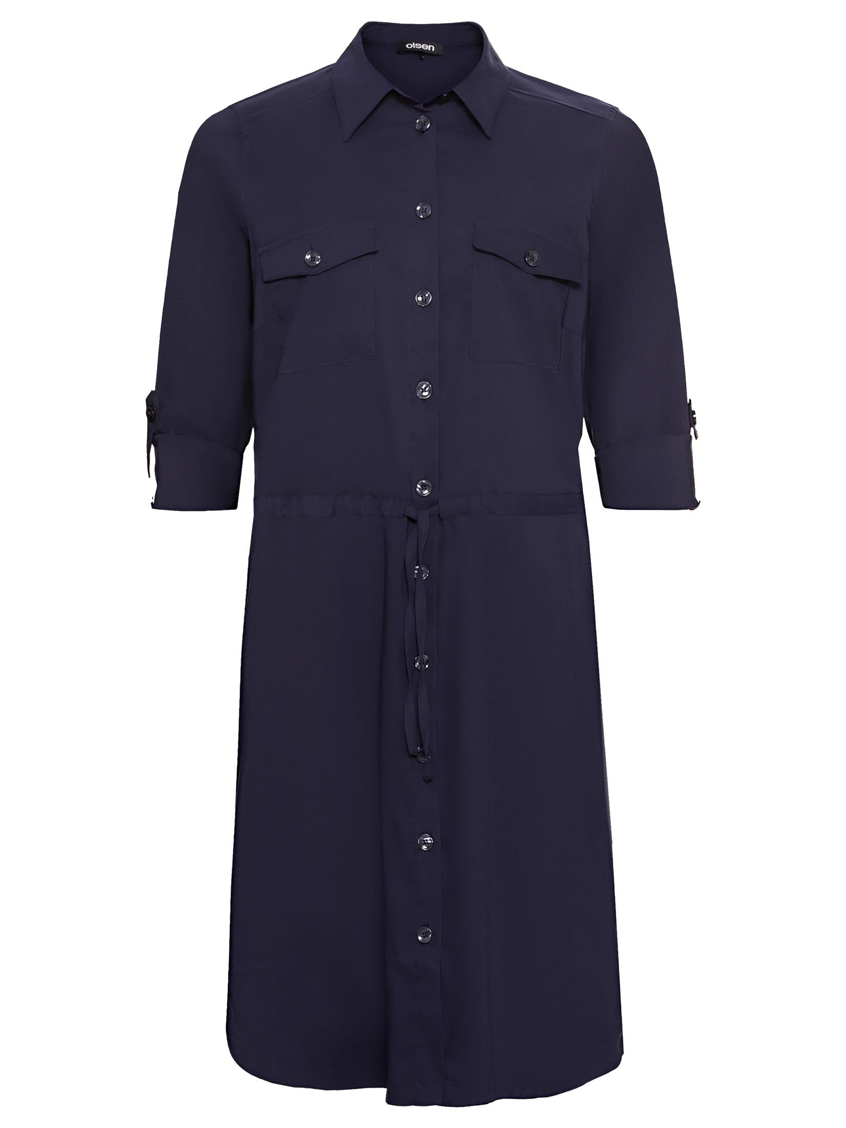 Olsen Blusenkleid, mit Tunnelzug und Gürtelband auf Hüfthöhe blau Damen Langarm Kleider Blusenkleid