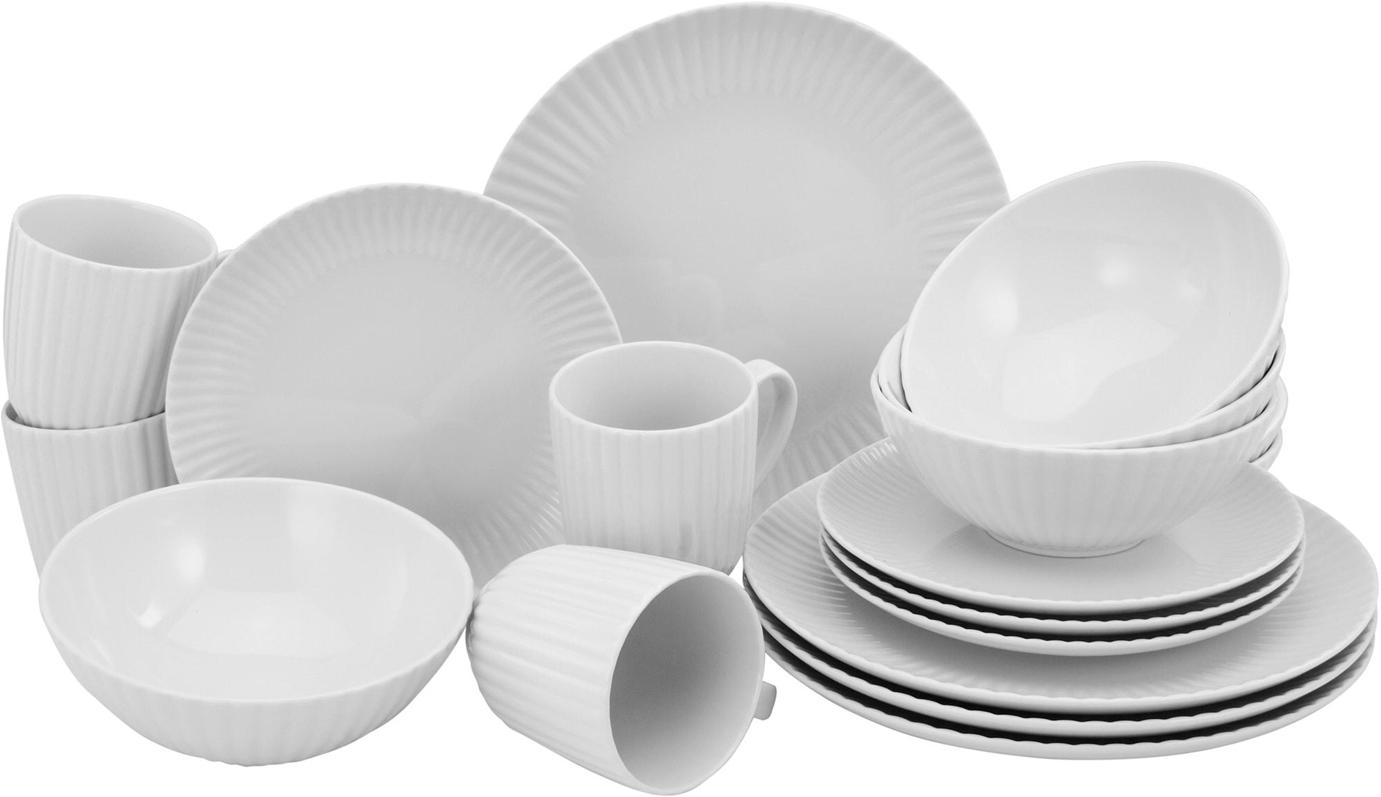 CreaTable Kombiservice Allegra, (Set, 16 tlg.), im Trend-Design weiß Geschirr-Sets Geschirr, Porzellan Tischaccessoires Haushaltswaren
