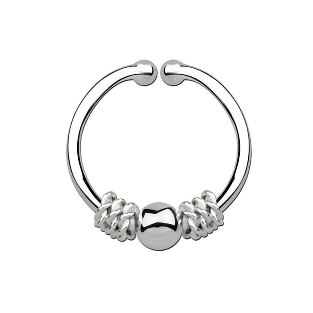 Adelia´s Nasenpiercing »Nasenpiercing Fake Ring Septum Klemmring Silber«, mit Stacheldraht und Kugel
