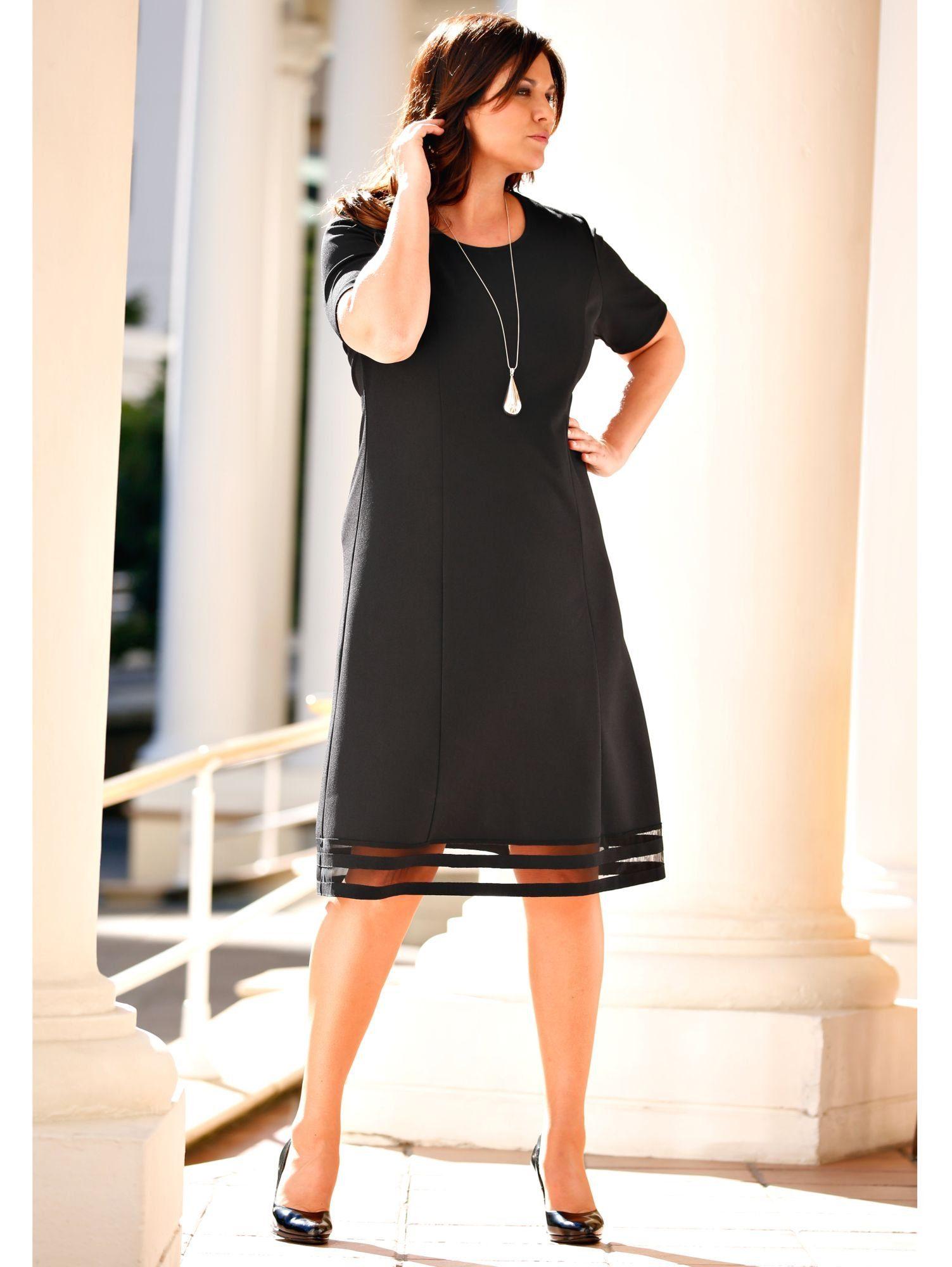 m. collection Kleid mit Netz-Einsätzen am Saum