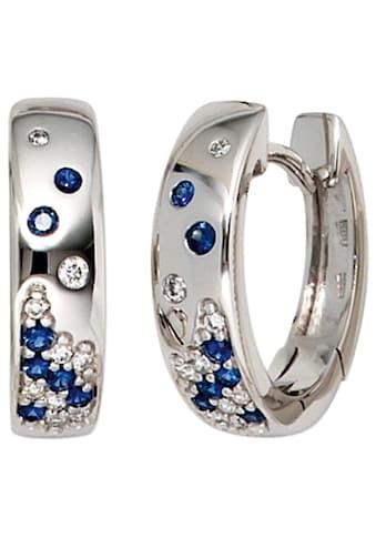 JOBO Paar Creolen, 585 Weißgold mit 18 Diamanten und Safir kaufen