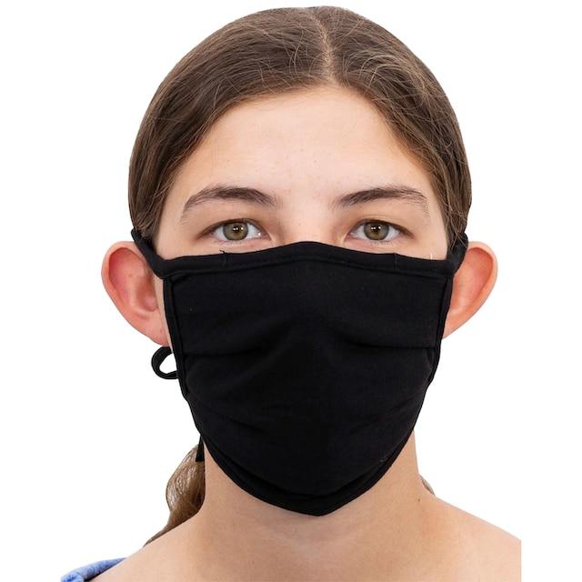 Packung: Community-Maske schwarz, 5er Set, mit elastischen Bänder zum Knoten
