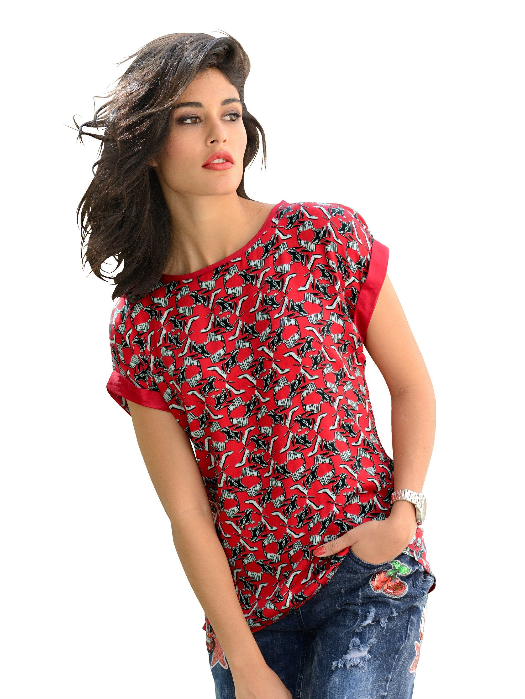 Alba Moda Blusenshirt mit Schuhprint