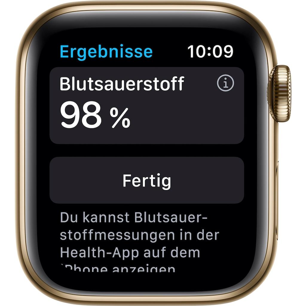 Apple Watch »Series 6 GPS + Cellular, Edelstahlgehäuse mit Milanaise Armband 40mm« (, Watch OS, inkl. Ladestation (magnetisches Ladekabel)