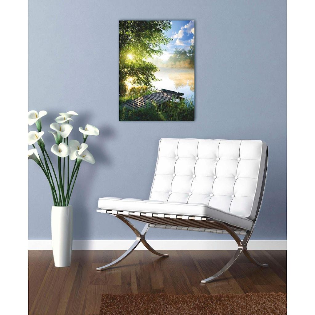 Home affaire Glasbild »Angelsteg am Fluss am Morgen«, 60/80 cm