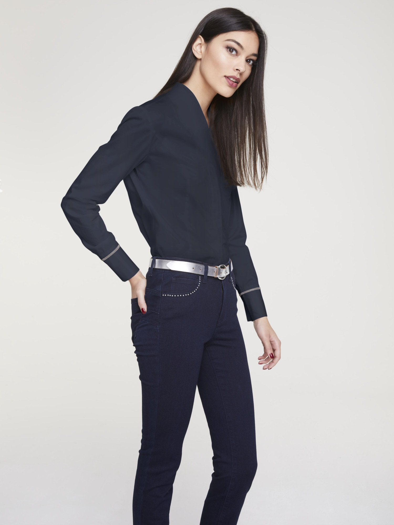 heine TIMELESS Bluse mit Stehkragen
