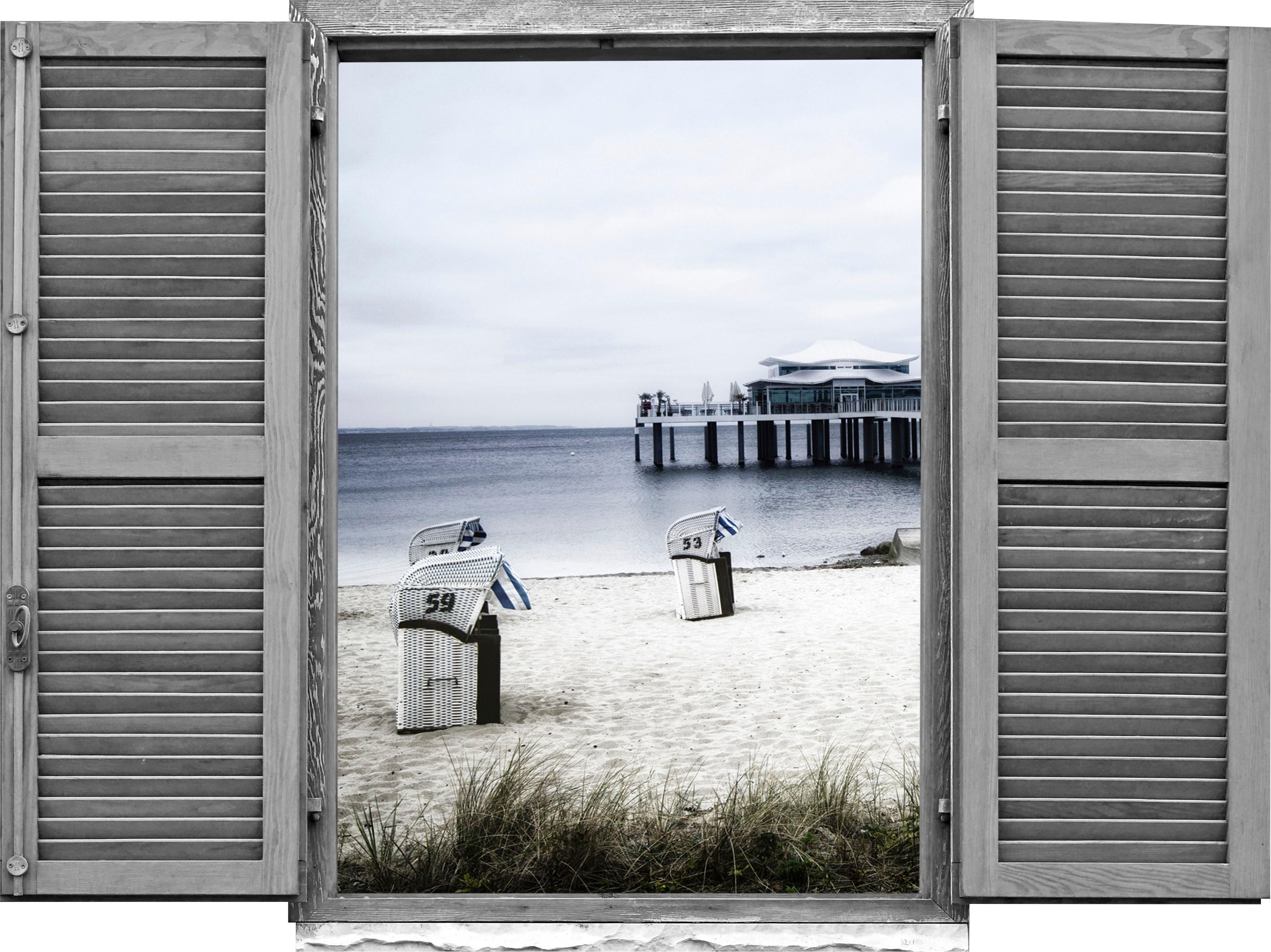 queence Wandtattoo Strandkörbe am Meer (1 Stück) weiß Wandtattoos und Wandsticker Wohnaccessoires
