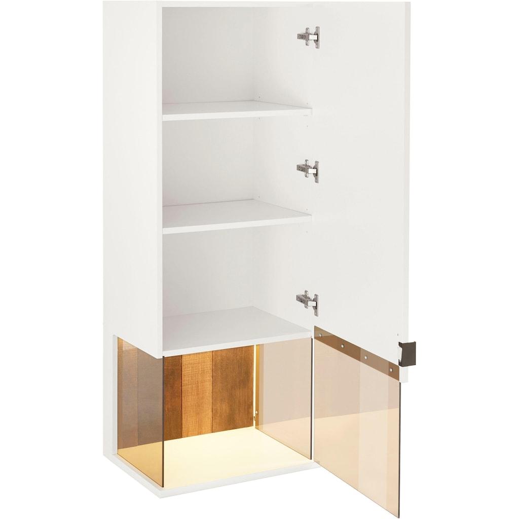 Quadrato Glashängeschrank »Modena«, Rückwand Altholz