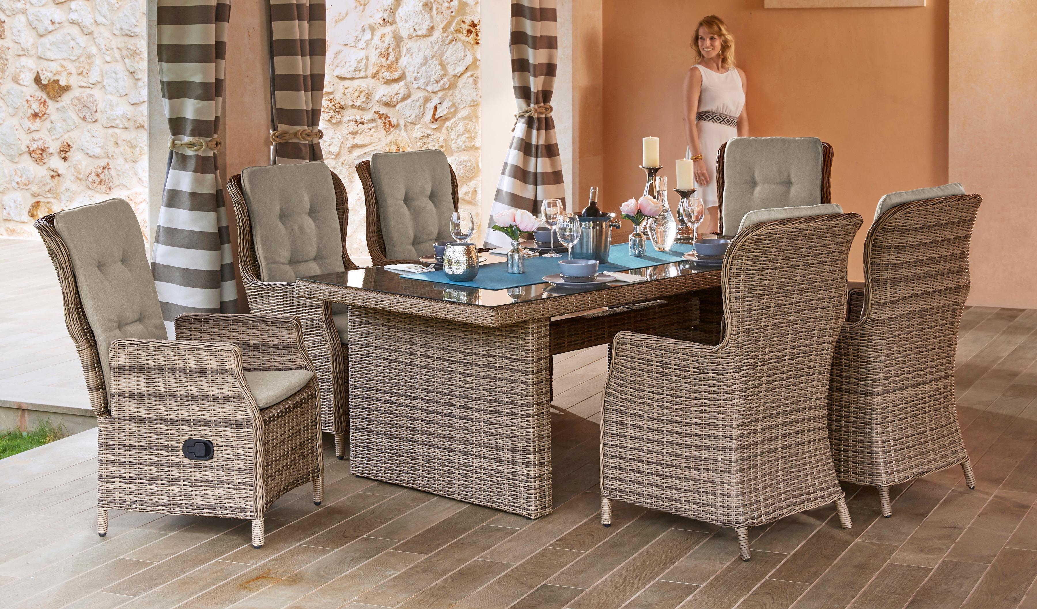MERXX Gartenmöbelset Riviera 13-tlg 6 Hochlehner Tisch200x100 cm Polyrattan