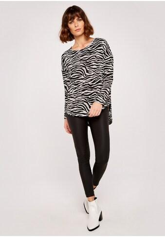 Apricot Rundhalspullover »Zebra Curved High Low Top«, mit Zebradruck kaufen
