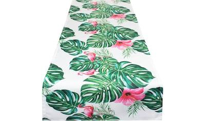 Delindo Lifestyle Tischläufer »Botanical FLAMINGO«, (1 St.), Strukturgewebe, bedruckt kaufen