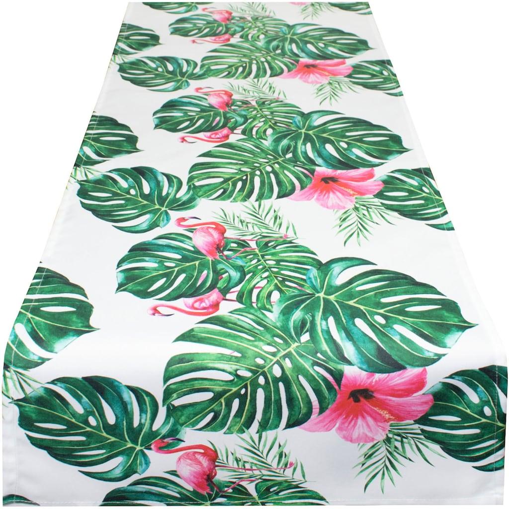 Delindo Lifestyle Tischläufer »Botanical FLAMINGO«, (1 St.), Strukturgewebe, bedruckt