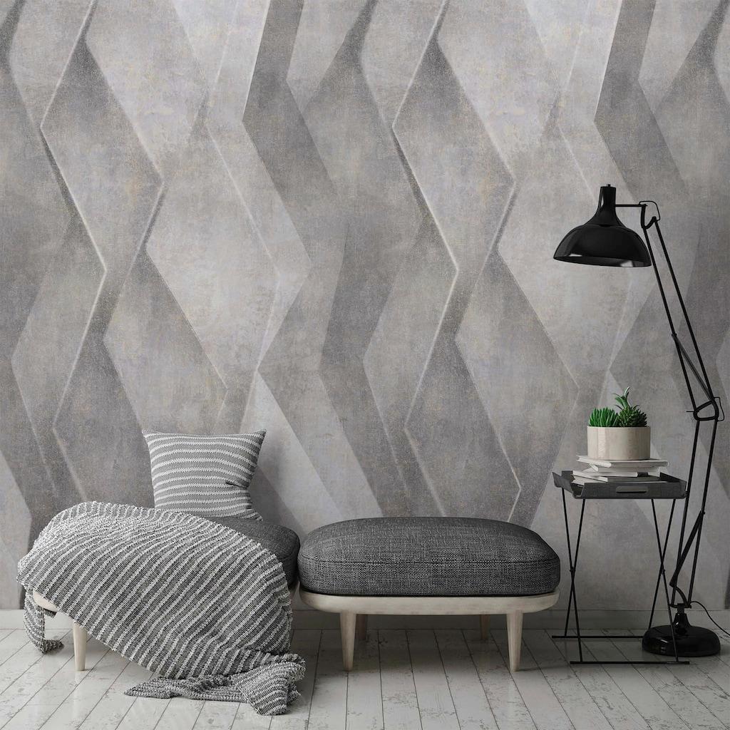 Bodenmeister Fototapete »3d Effekt silber grau«