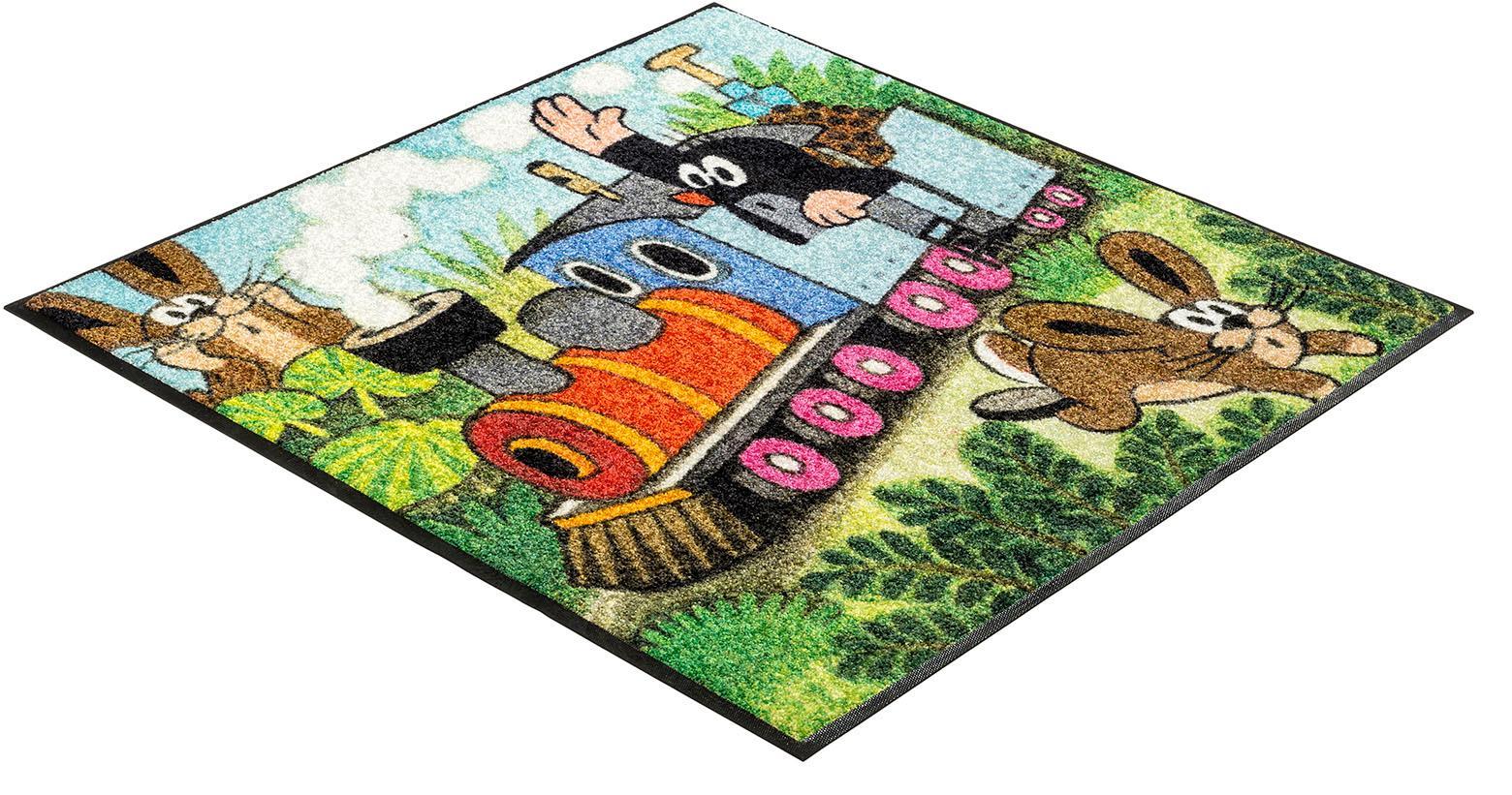Kinderteppich Maulwurf Zug wash+dry by Kleen-Tex quadratisch Höhe 7 mm gedruckt