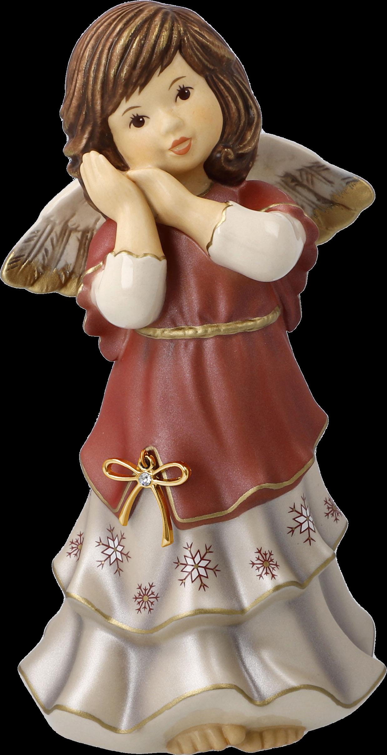 Goebel Engelfigur Jahresengel 2021 - Friedliche Weihnachtszeit, mit Zertifikat und Swarovski-Kristal rot Sammlerfiguren Figuren Skulpturen Wohnaccessoires