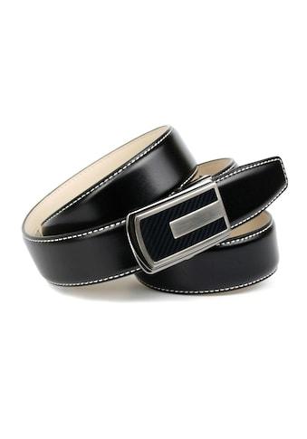 Anthoni Crown Ledergürtel, in Schwarz mit Kontrast Stitching in Weiss kaufen