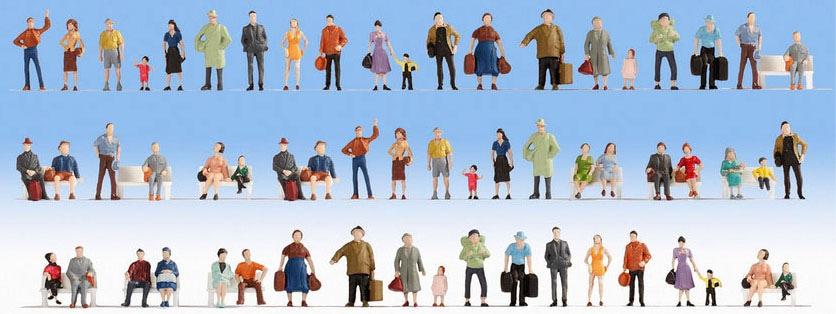 NOCH Modelleisenbahn-Figur Mega Spar-Set, (Set, 60 tlg.), für Spurweite H0 bunt Kinder Noch