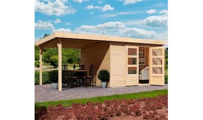 KARIBU Set: Gartenhaus »Arnis 6«, BxT: 558x331 cm, mit Anbaudach kaufen