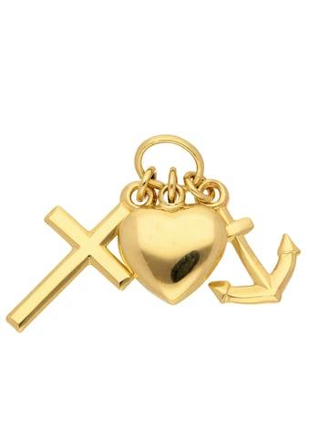Adelia´s Kettenanhänger »585 Gold Anhänger Glaube-Liebe-Hoffnung«, Goldschmuck für Damen kaufen