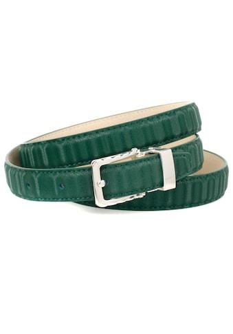 Anthoni Crown Ledergürtel, Stilvoller Gürtel in grün mit silberfarbener Schließe kaufen