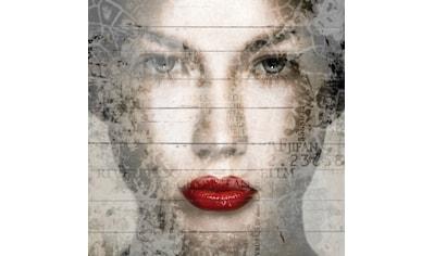 QUEENCE Holzbild »Frauen Gesicht Rote Lippen«, 40x40 cm Echtholz kaufen