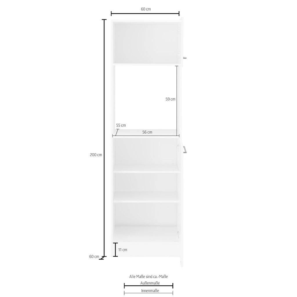 HELD MÖBEL Backofenumbauschrank »Tulsa«, 60 cm breit, 200 cm hoch, für Einbaubackofen, schwarze Metallgriffe